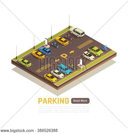 Two Rows Perpendicular Bay Parking With Yellow Road Surface Markings For Cars Motorcycles Scooters I