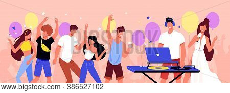 Teenagers Birthday Party Flat Horizontal Composition With Balloons Playing Vinyl Records Dancing Sin