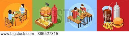 Burger House Isometric Design Concept With 4x1 Set Of Fast Food Meal Compositions With Visitor Chara