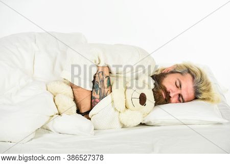 So Lovely. Toys Shop Concept. Playing In Bed. Mature Man Has Childish Habits. Cute And Romantic Play