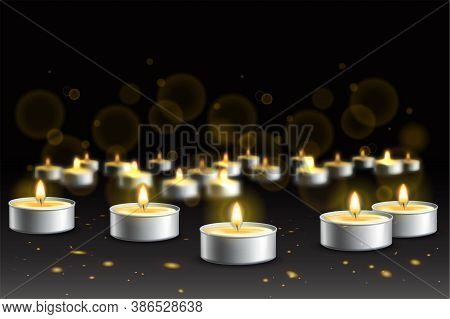 Realistic Candles Composition With Images Of Burning Candles Set In Round Metal Tins On Dark Backgro