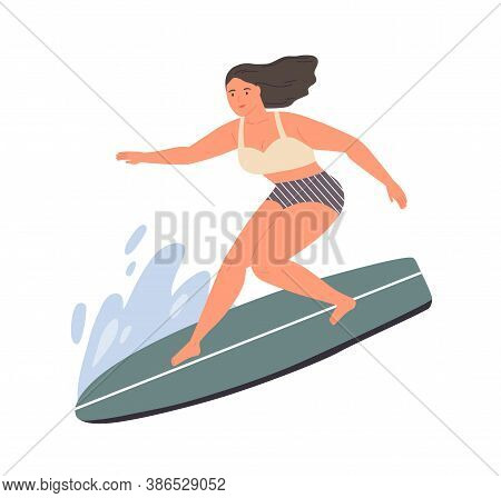 Smiling Woman Standing On Surfboard At Sea Or Ocean Wave Vector Flat Illustration. Happy Sportswoman