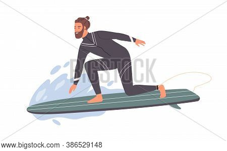 Hipster Male Surfer In Wetsuit Standing One Knee On Surfboard Riding At Wave Vector Flat Illustratio