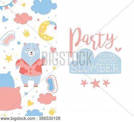 Slumber Party Banner Template, Childish Holiday Party Invitation Card Design Cartoon Vector Illustra
