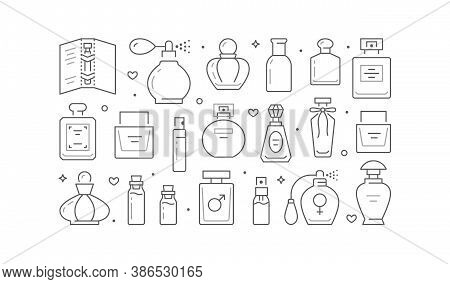 Perfume Bottles Poster With Line Icons. Vector Horizontal Illustration Included Icon Glass Sprayer,