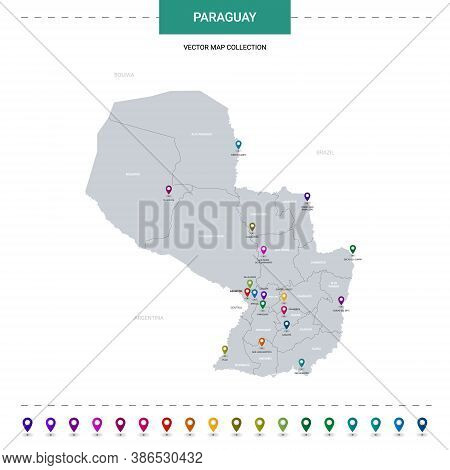 Paraguay Map With Location Pointer Marks. Infographic Vector Template, Isolated On White Background.