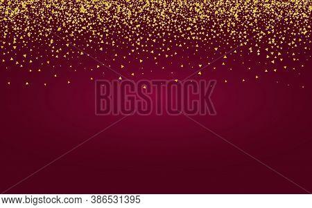 Gold Glow Light Burgundy Background. Glamour Confetti Card. Golden Triangle Shiny Backdrop. Rain Gol