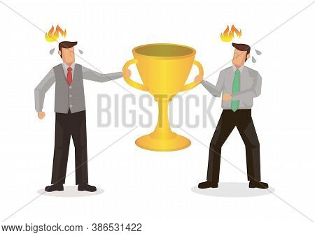 Competition And Rivalry Between Two Businessmen Concept Design. Fighting Over A Golden Trophy Cup. F