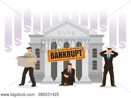 Bank Bankruptcy Concept. Sinking Banking Process In Financial Crisis. Economical Problem, Investment