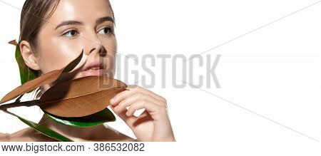 Organic. Beautiful Face Of Young Woman With Clean And Fresh Skin. Flyer With Copyspace For Ad. Conce