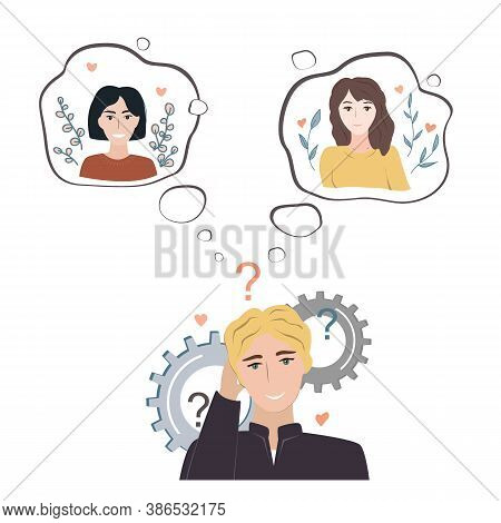 Undecided Teenage Guy Doubting Between Two Loves. Young Man Thinking About Two Pretty Girls And Tryi