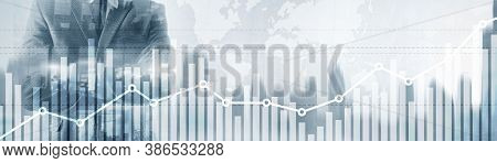 Double Exposure Global World Map On Business Financial Stock Market Trading Background.