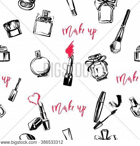 Seamless Pattern With Cosmetics: Lipstick, Nail Polish, Mascara, Powder. The Style Is A Sketch Drawn