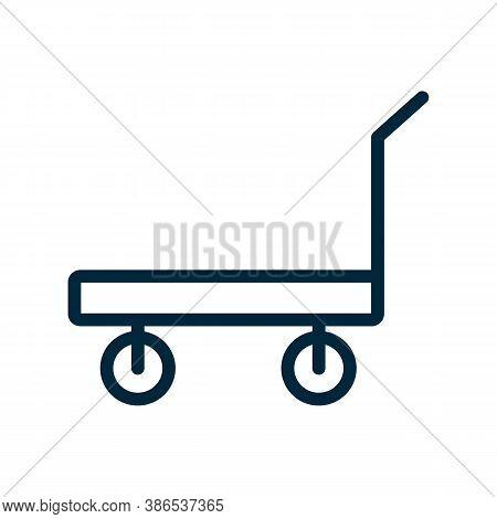 Standard Platform Wheeled Trolley For Transportation Icon Vector. Standard Platform Wheeled Trolley