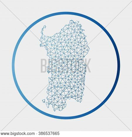 Sardinia Icon. Network Map Of The Island. Round Sardinia Sign With Gradient Ring. Technology, Intern
