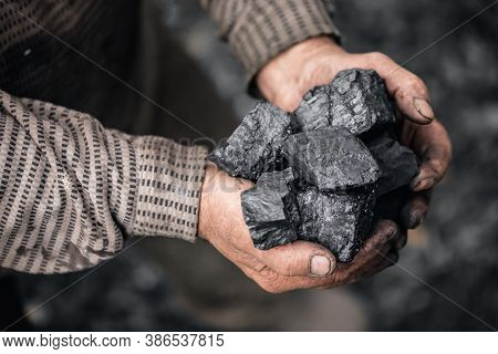 Miner Holds Coal Palm. Concept Mining, Top View