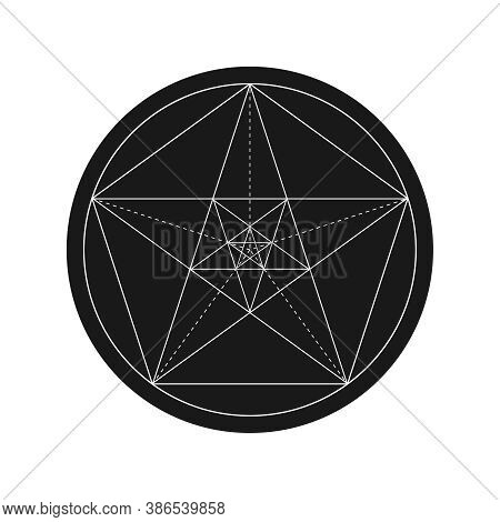 Pentagonal Star Graphic Pentagram. Golden Section Sign In The Circle Isolated On White Background. F