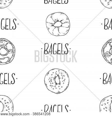 Seamless Hand Drawn Vector Pattern With Lettering. Bagel Illustartion Background For Packaging, Wrap