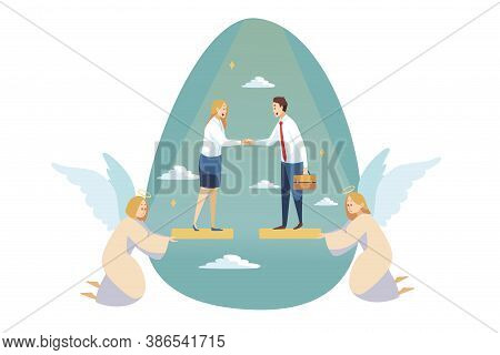 Religion, Support, Business, Christianity, Meeting Concept. Angels Religious Characters Helping Youn