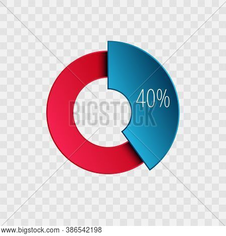 40 Percent Pie Chart Isolated On Transparent. Percentage Vector Symbol, Infographic Blue Red Gradien