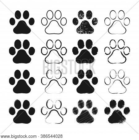 Animal Paw Print Vector Icon. Dog Or Cat Footprint Trail Sign. Painted Ink And Grunge Style Texture.