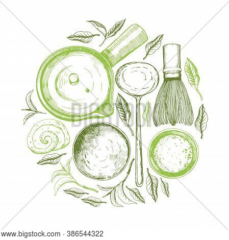 Matcha Vector Illustration With Food And Drink Sketch. Round Compositions. Japaneese Ethnic And Nati