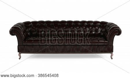 Dark Brown Quilted Leather Sofa On White Isolated Background Front View. Template For Advertising, D