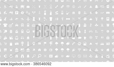 Icon Set. Seamless Pattern. Vector Illustrations With Travel, Transport, Hotel, Rest, Shopping, Vaca