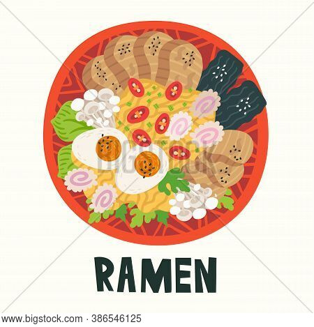 Ramen In Bowl On Table. Top View. Illustration With Japanese Soup In Flat Style. Asian Food: Miso, E
