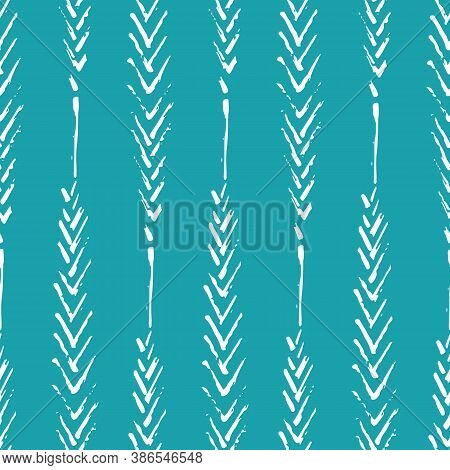 Mono Print Style Narrow Leaves Seamless Vector Pattern Background. Simple Lino Cut Effect Painterly