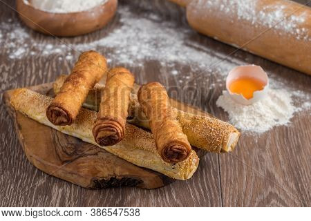 Traditional Turkish Borek Or Turkish Pastry With Minced Meat, Cheese And Spinac On Wooden Background