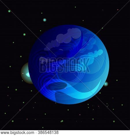 Vector Illustration With Planet Neptune In Outer Space. Space Background With Eighth Planet