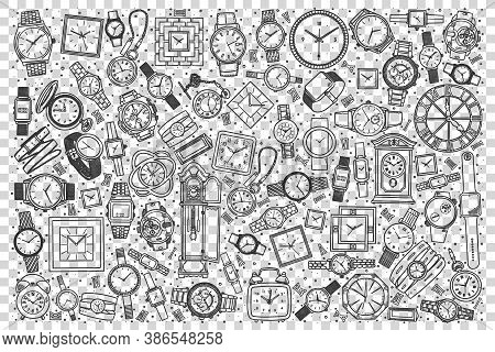Watch Shop Doodle Set. Collection Of Hand Drawn Templates Sketches Patterns Of Male Female Hand Pock