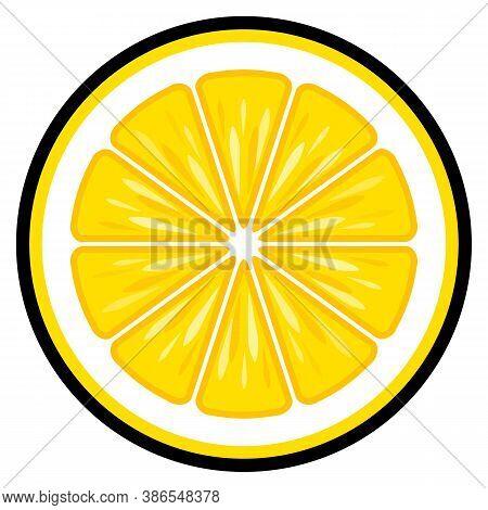 Lemon Fruit Slice Vector Art Graphic Isolated On White Background