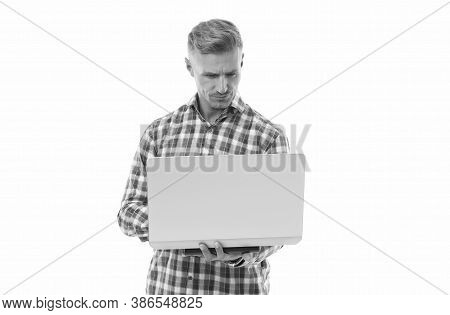 Freelance Programmer. Computer User Isolated On White. Handsome Man Use Computer. Computer Technolog
