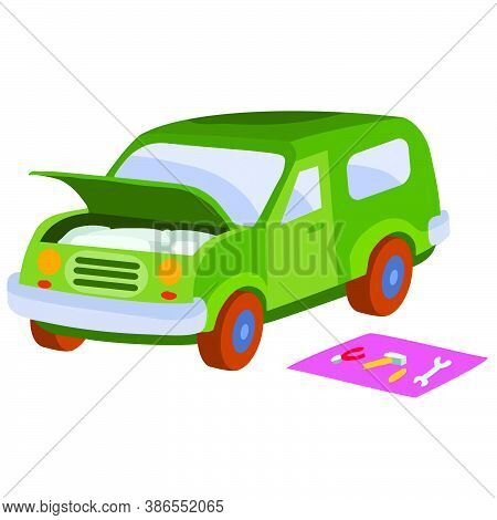 The Car Broke Down And Stands With The Hood Open, Tools Lie Next To It On A Mat, Cartoon Illustratio