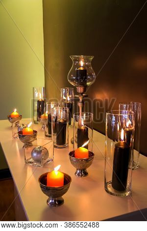 Candles On A Table For Decor Purposes At Corporate Christmas Gala Event Party