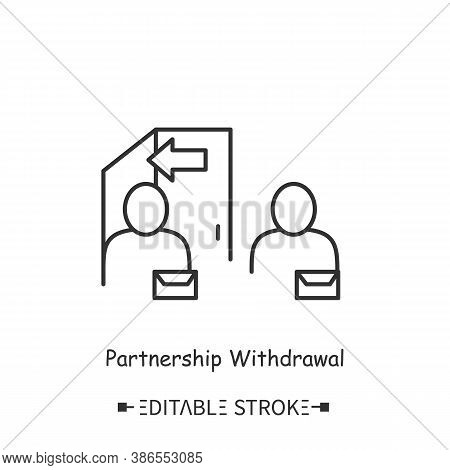 Partnerships Withdrawal Icon. Breaking Cooperation Agreement. Decline Of Cooperation. Contemporary B