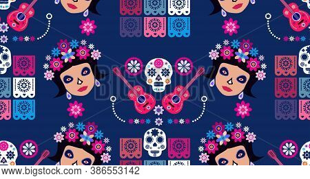 Mexican Seamless Pattern, Catrina Calavera  Sugar Skulls And  Marigold Flowers. Template  For Mexica