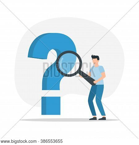 Man With A Magnifier And A Question Mark. Concept Of Frequently Asked Questions, Query, Investigatio