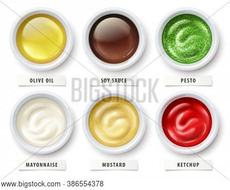 Sauces set. Virgin olive oil, soy sauce, pesto, mayonnaise, mustard and tomato ketchup in ceramic cups. Ingredients for flavoring salads, cooking food isolated on white background. 3D illustration.