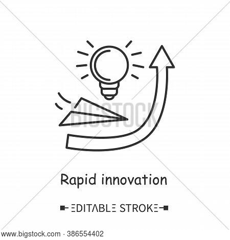 Rapid Innovation Line Icon. Business Improvement And Progressing. Innovations Launching. Business Te