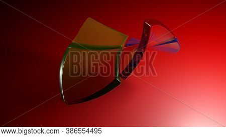 Abstract Red Background With Flexible Semi Transparent Colored Plastic Squares - 3d Rendering Illust