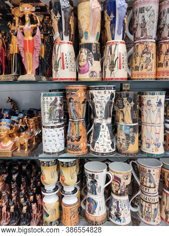 Sharm El Sheikh, Egypt - September 15, 2020: The Local Gift Shop In Egyptian Souvenir Shop At Sharm