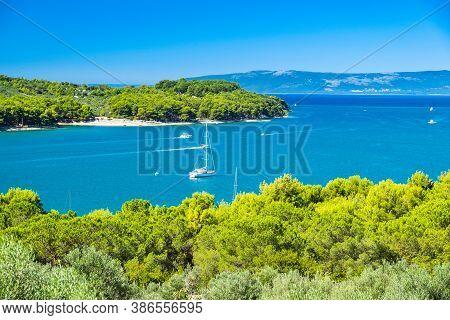 Adriatic Seascape, Sail Boat In Lagoon On The Island Of Cres In Croatia