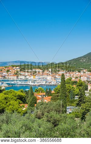 Panoramic View Of Town Of Cres On The Island Of Cres In Croatia