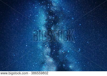 Space Background With Night Starry Sky And Milky Way. Vector Illustration With Our Galaxy In Cosmos.
