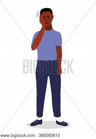 African Man Feels A Strong Headache. He Pressed Her Fingers To His Temples. Endure Pain. Cartoon Vec