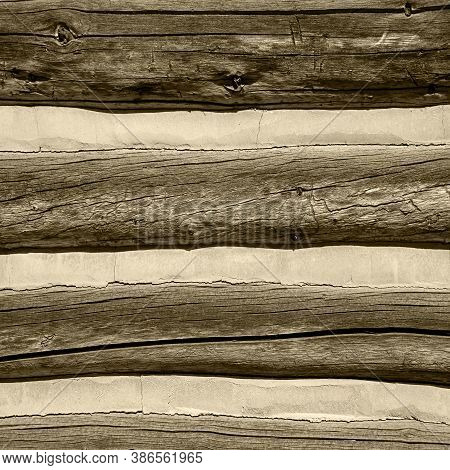 Sepia Wood Texture With Concrete Of Lumber With Concrete Cement Ridges For Backgrounds And Design El