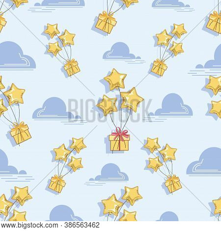 Gifts Fly. Golden Stars Balloons. Festive Background, Seamless Pattern. Festive Party.  Gifts Are He